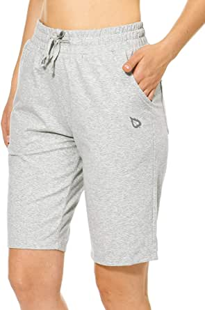 BALEAF Women's Bermuda Shorts Long Cotton Jersey with Pockets Athletic Sweat Walking Knee Length for Summer Workout