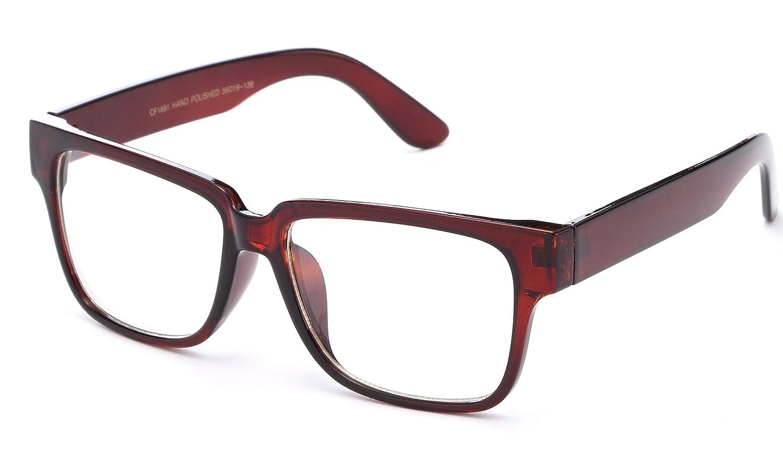 49e5882bad10 Amazon.com  Newbee Fashion - Unisex Thick Squared Frame Quality Build  Sturdy Square Clear Lens Fashion Glasses for Men   Women  Clothing
