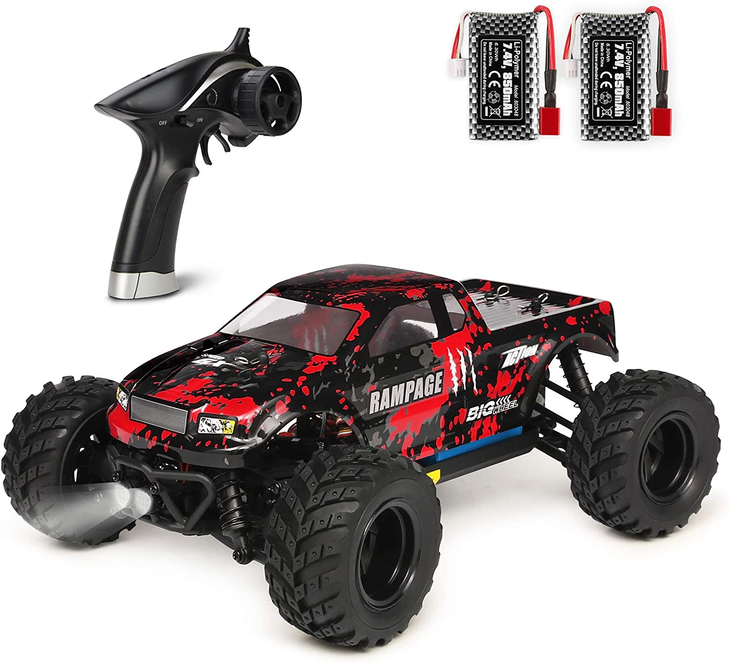 HAIBOXING 1:18 Scale All Terrain RC Car 36KM/H High Speed, 4WD Electric Vehicle,2.4 GHz Radio Controller, Included 2 Batteries and A Charger,Waterproof Off-Road Truck (Red): Toys & Games
