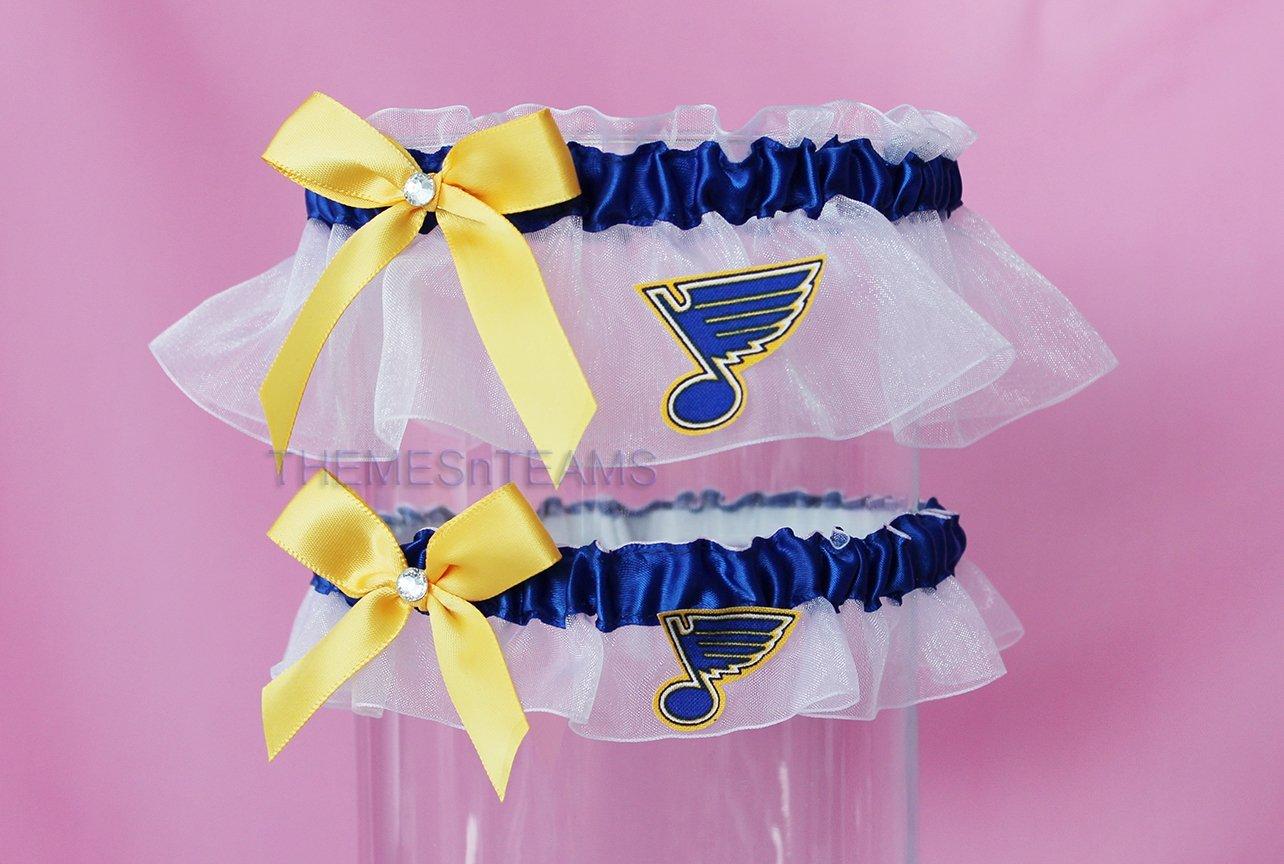 Customizable handmade - White, blue, gold - St Louis Blues fabric handcrafted keepsake bridal garters wedding garter set tnt