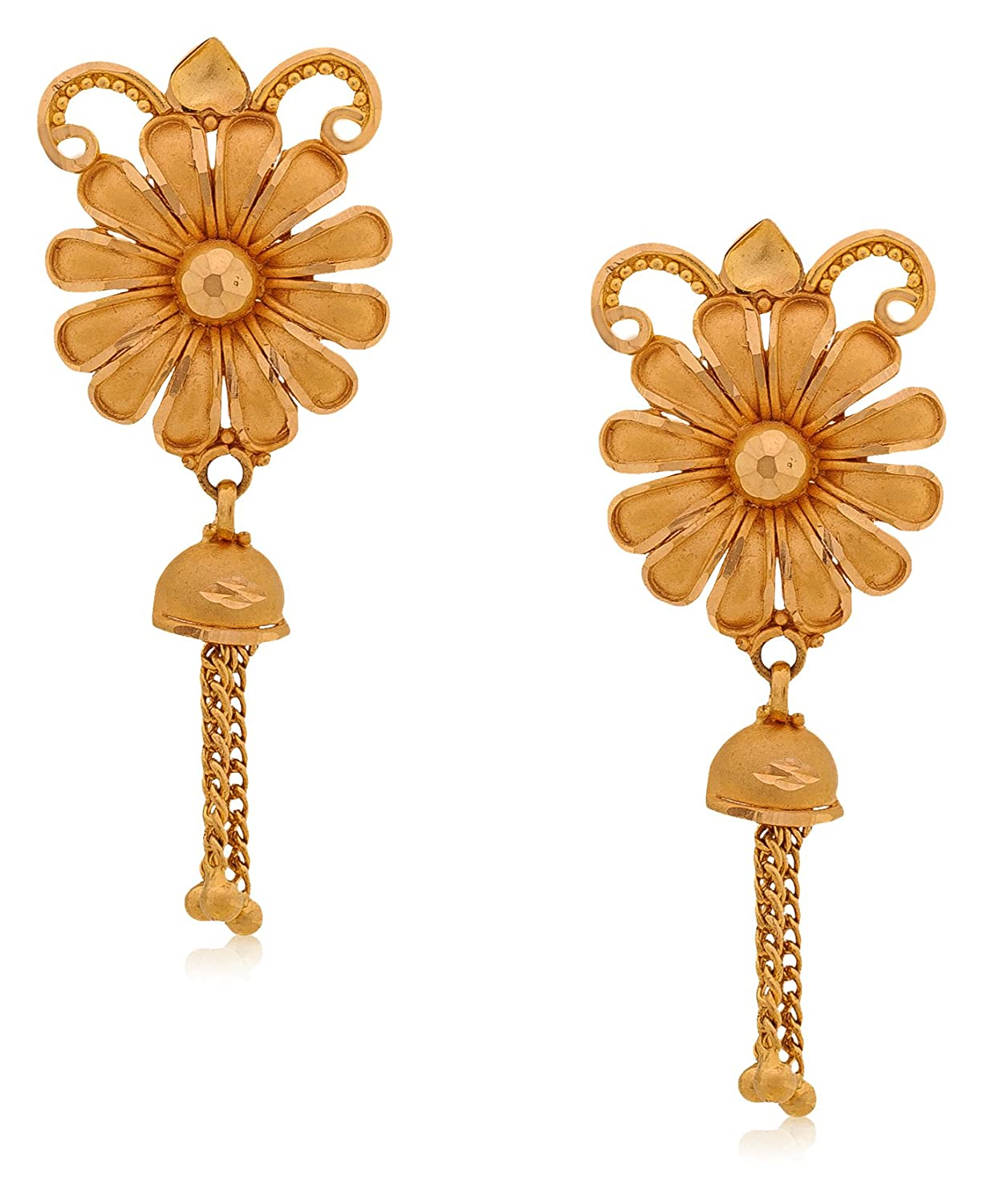 Buy Senco Gold Aura Collection 22k Yellow Gold Drop Earrings ...