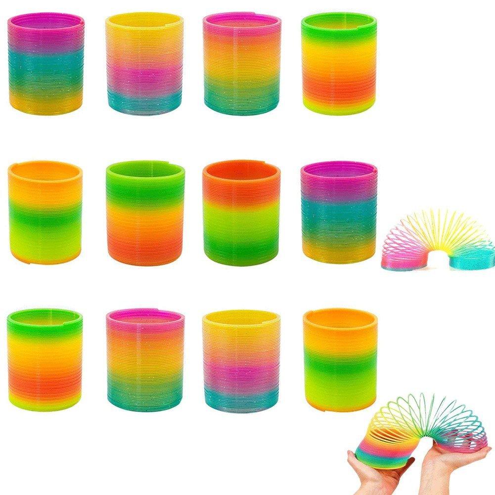Rainbow Magic Spring,  Rainbow Spring Slinky Toy Circles Slinky Rainbow for Children Toys Party Favors,12 PCS