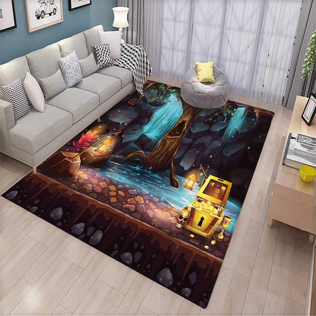 Fantasy Room Home Bedroom Carpet Floor Mat Cartoon Style Cave Landscape with a Big Tree Treasure Chest Lamps and Waterfall Floor Mat Pattern Multicolor