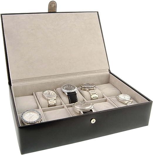 Estuche 10 Relojes en Piel Negro Talla: U Color: Negro: Amazon.es ...