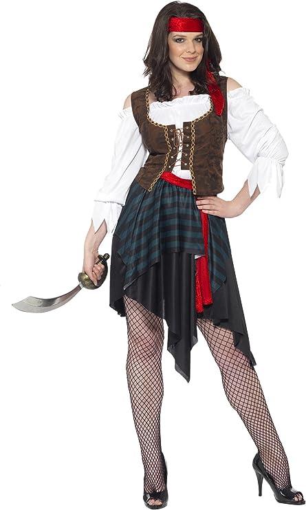 Smiffys Smiffys-20470M Disfraz de Mujer Pirata, Camisa con Chaleco Unido, Falda, cinturón y Banda para el Pelo, Color marrón, M-EU Tamaño 40-42 20470M: Smiffys: Amazon.es: Juguetes y juegos
