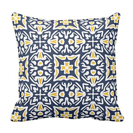 Amazon Emvency Throw Pillow Cover Blue Chic Navy And Yellow Simple Blue And Yellow Decorative Pillows