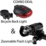 Bulfyss Combo of LED-Laser Tail Light, Zoomable Mode Bicycle Headlight, LED-Flashlight Front-Bicycle Light Lamp Mount Torch and Holder Clip-Mount