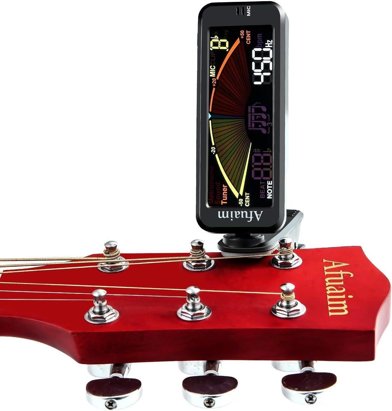 Afuaim Afinadores Metronome Guitarra Tuner Cromático 3 en 1 Clip on para Guitarra Bajo Ukelele Violín con Pantalla LCD