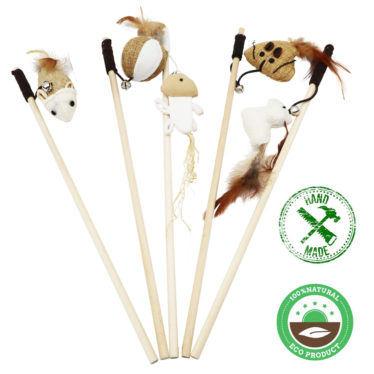 Ruri's Cat Toys Interactive Wand Wand Cat Toy Set of 5 Natural Sisal Material Bell, Feather, Elastic String Sturdy Wood Rod