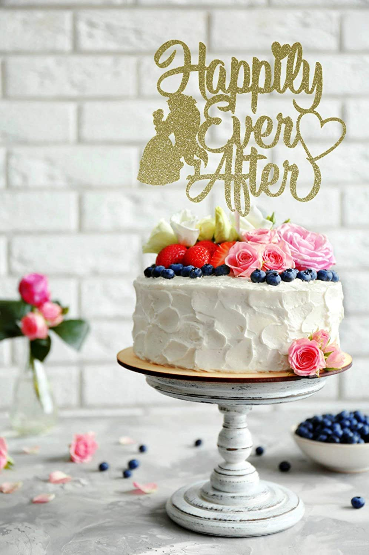 Decoración para tarta de boda de la Bella y la Bestia Happy ...