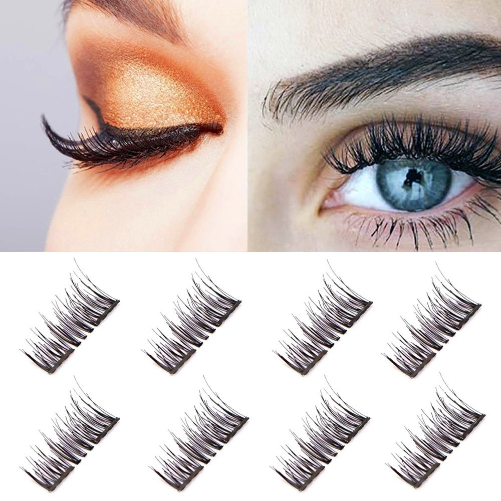 783042f5d4d Amazon.com : Dual Magnetic False Eyelashes-3D Fiber Natural Wispy Lashes  Reusable Fake Eyelash Extensions-Ultra Thin Double Magnet Length:12MM  (2Pair ...