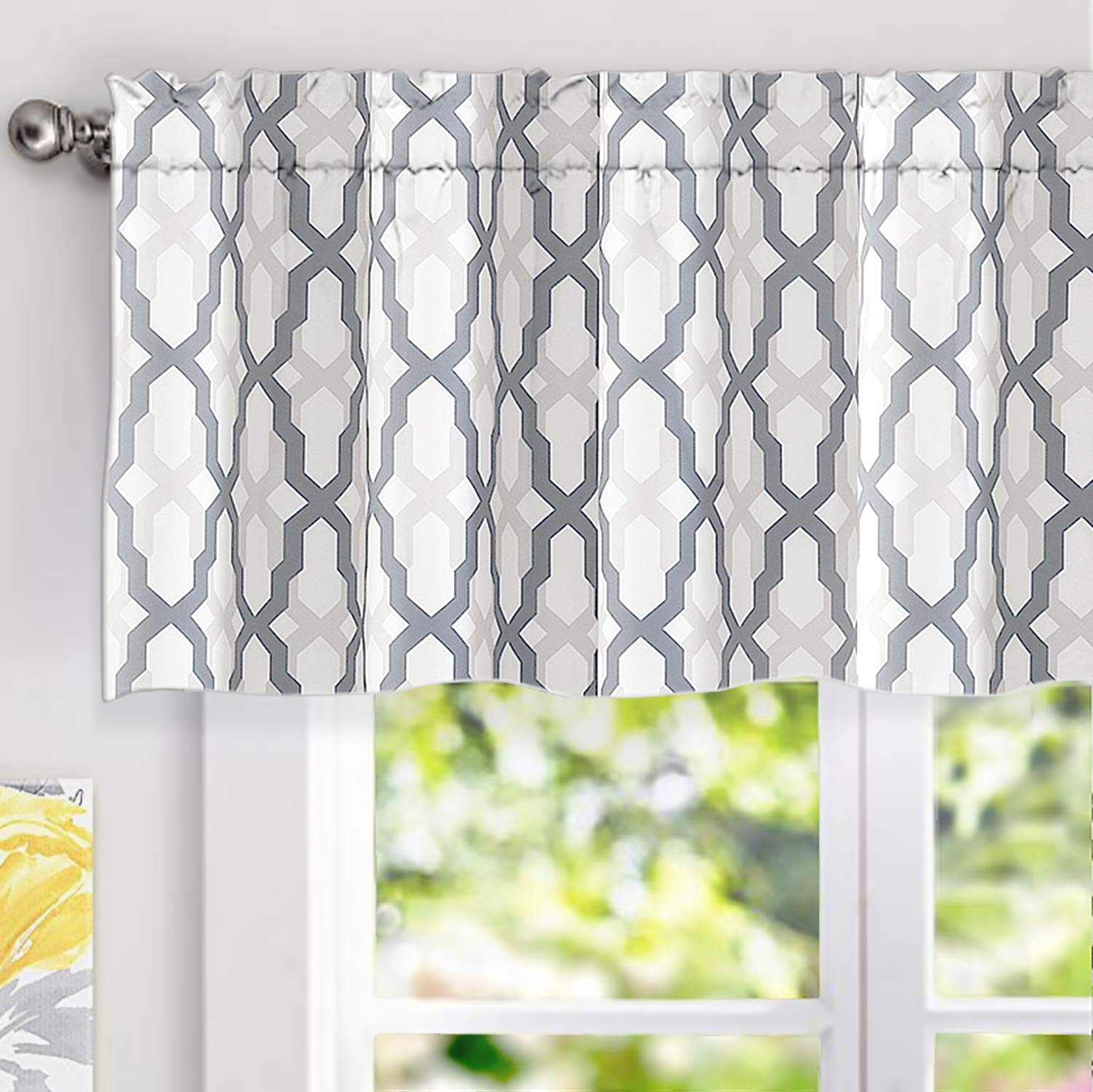 "DriftAway Mason Geometric Trellis Pattern Window Curtain Valance, Rod Pocket, 52""x18""+2"" Header (Gray)"