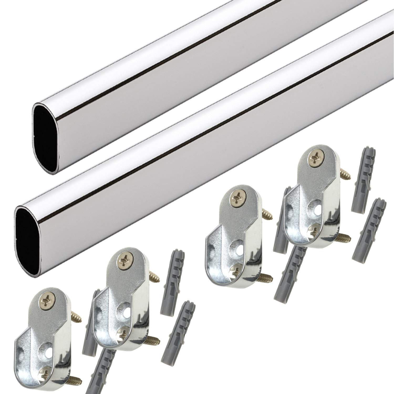 36'' Oval Closet Rod with End Supports - Polished Chrome - 2 Sets