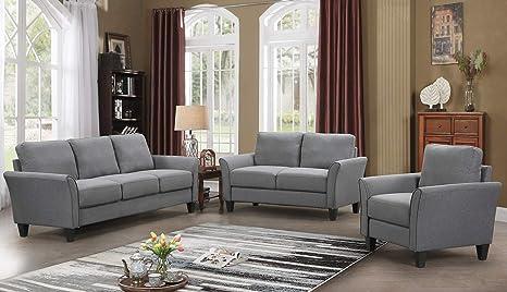 Harper&Bright Designs Living Room Sets Furniture Armrest Sofa Single Chair  Sofa Loveseat Chair 3-Seat Sofa (Chair&Loveseat Chair&3-Seat Sofa, Light ...