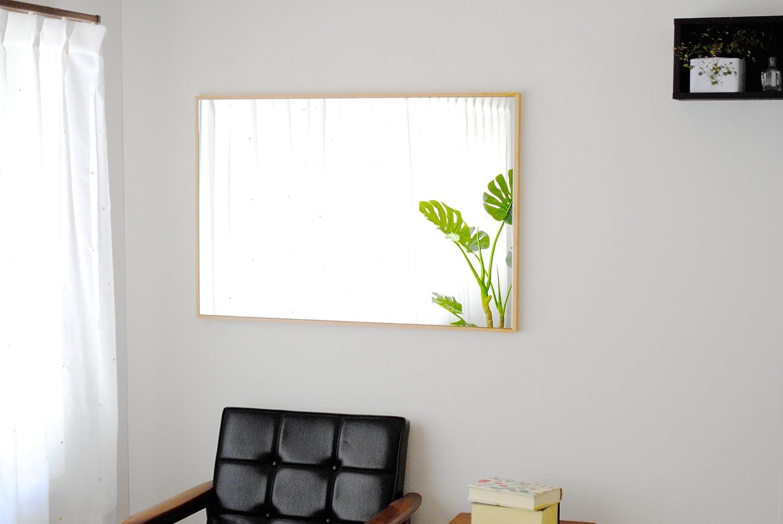 SENNOKI 細枠 全身 鏡 姿見 壁掛け ウォールミラー 長方形 ナチュラル 日本製 62cm×92cm B071S81PCCナチュラル