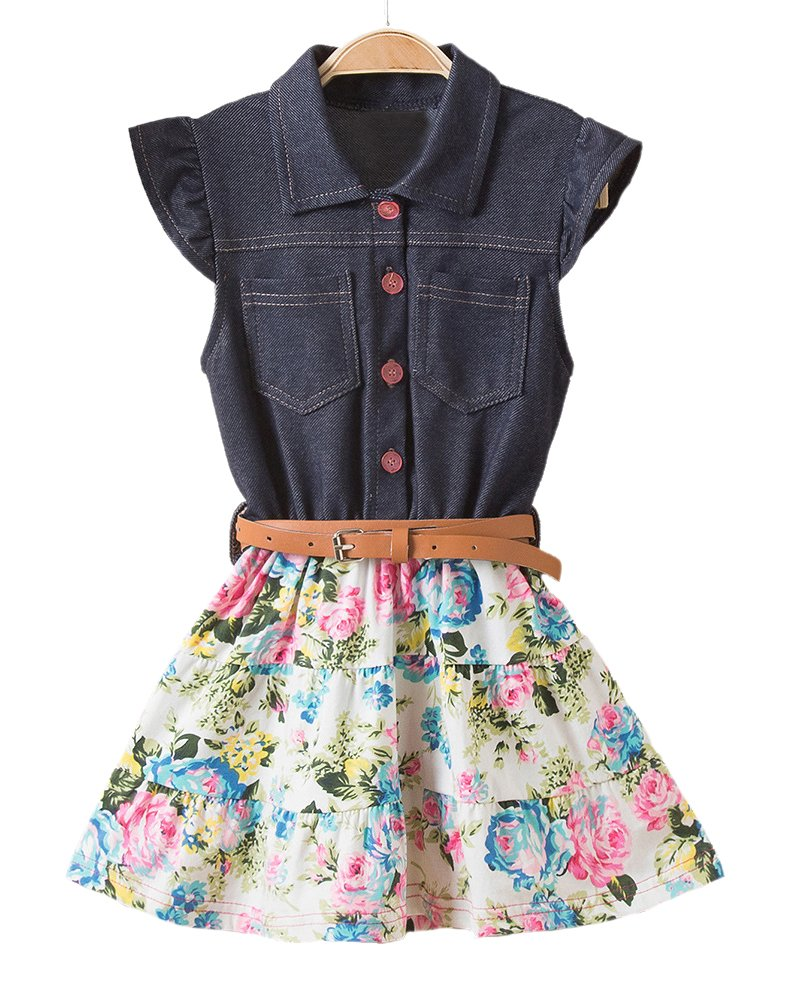 Horcute Fahion Denim Floral Swing Skirt With Belt Girls Dress C 110
