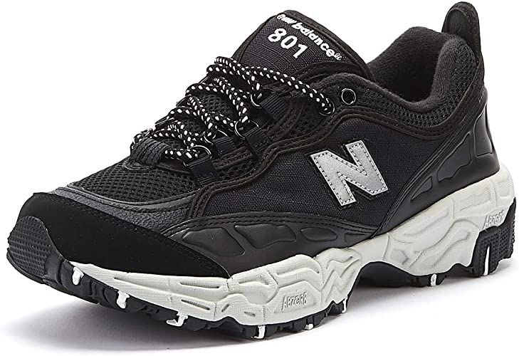 New Mens New Balance Black 801 Textile Synthetic Trainers Running Style Lace Up