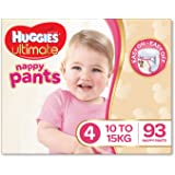 Huggies Ultimate Nappy Pants, Girls, Size 4 Toddler (10-15kg), 93 Count