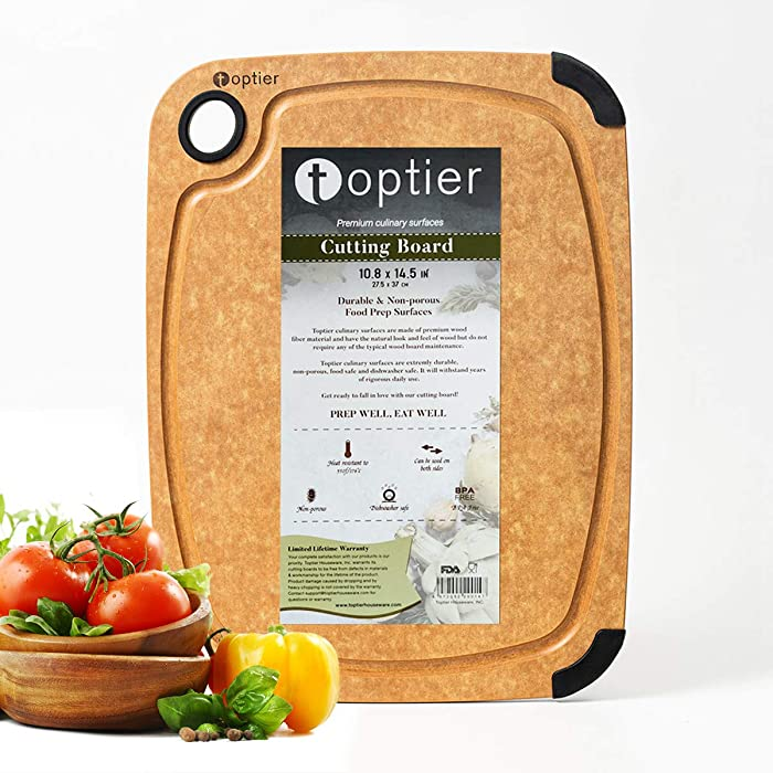 Wood Fiber Cutting Board, TOPTIER Dishwasher Safe Cutting Boards for Kitchen, Eco-Friendly, Non-Slip, Fruit Juice Grooves, Non-Porous, BPA Free, Medium Cutting Board, 14.5 x 11-inch, Natural Slate