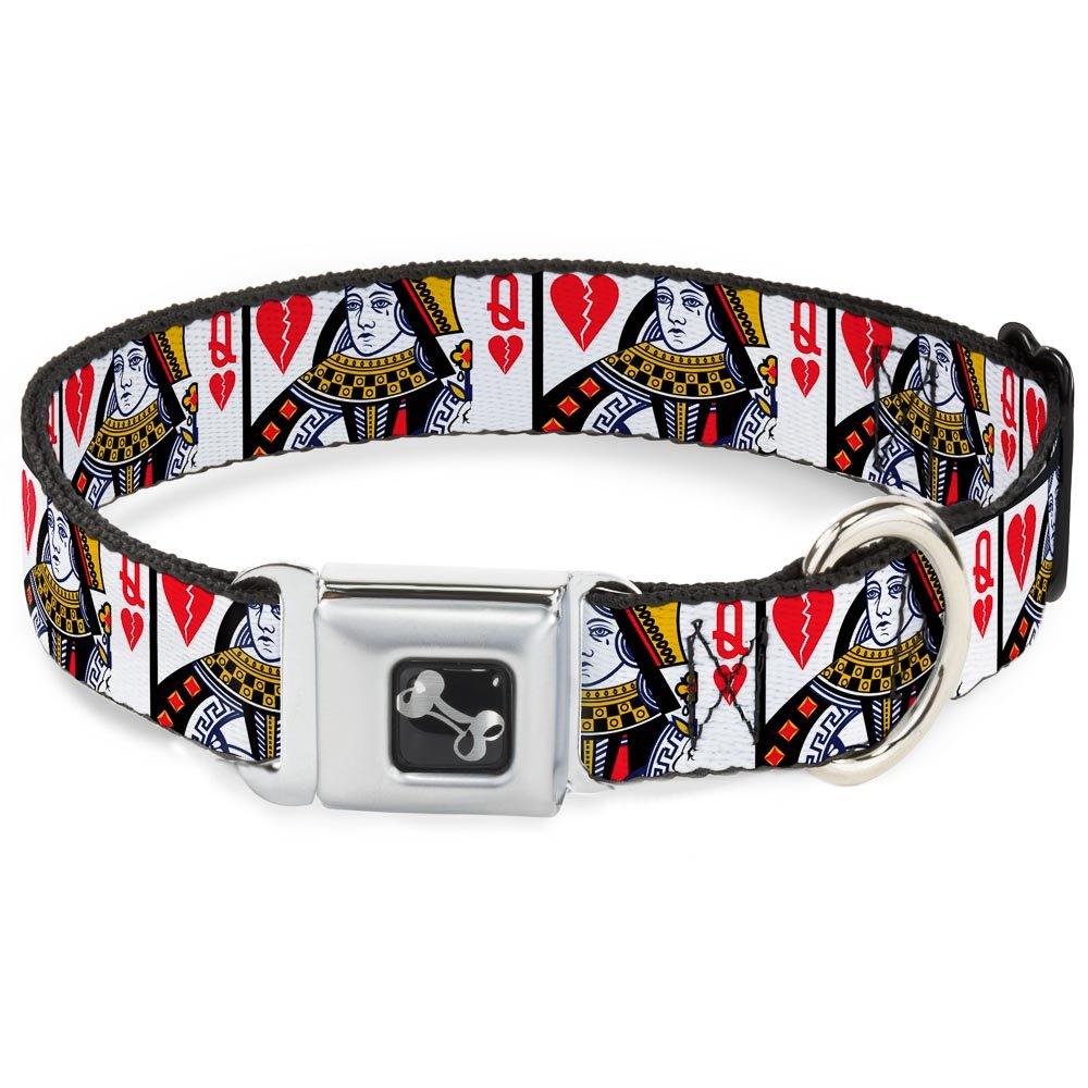 Buckle-Down Seatbelt Buckle Dog Collar Queen of Broken Hearts 1.5  Wide Fits 16-23  Neck Medium