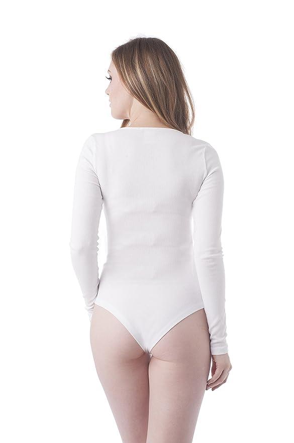Khanomak Long Sleeve Snap Button Deep V Neck Ribbed Bodysuit  Amazon.co.uk   Clothing 634c39508