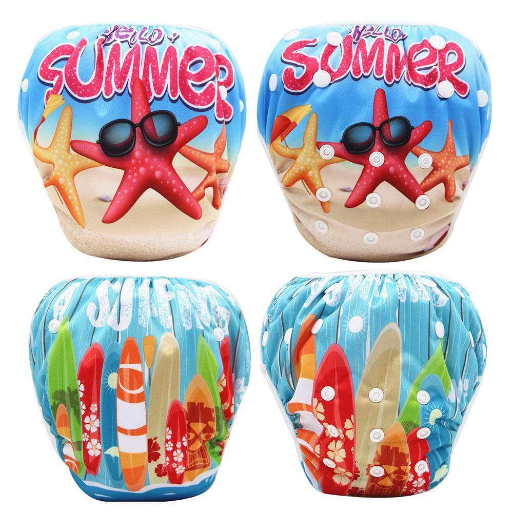 8-36lbs Newborn Swimming Nappy Pool Beach Swimwear Underwear Pant Diaper Cover for 0-3T Infant Boy Girl Womdee 2pcs reusable swim diaper