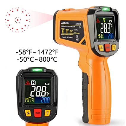 Infrared Thermometer AIDBUCKS AD6530B Laser Digital Non Contact IR  Temperature Gun Color Display -58°F to 1472°F with Temperature Alarm  Function for