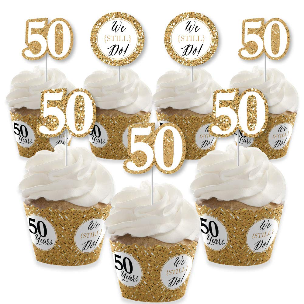 We Still Do - 50th Wedding Anniversary - Cupcake Decoration - Anniversary Party Cupcake Wrappers and Treat Picks Kit - Set of 24 by Big Dot of Happiness