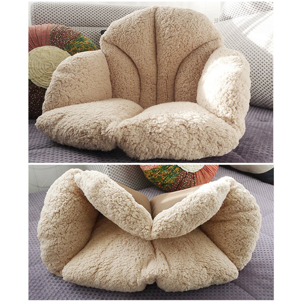 Cream Winter Fleece Seat Cushion for Sofa Wheelchair KIOPS Cotton Padded Chair Cushion with Anti-slip Bottom Japanese Self-warming Technology Office Chair Direct Factory Pricing