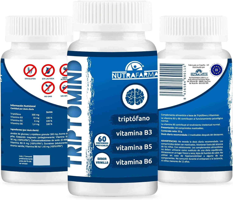 TRIPTOMIND - Complemento alimenticio que mejora el rendimiento intelectual - 60 comprimidos masticables - Resultados efectivos - Con vitaminas B3,B5 y B6.: Amazon.es: Salud y cuidado personal