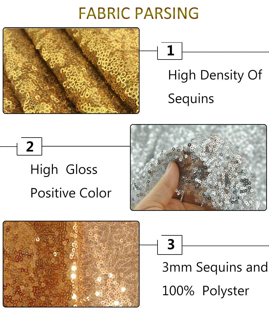Gold Sequin Fabric 30FT 10 Yards Baby Shower Decorations in Shiny Gold Sparkly Fabric for Sewing ~0818S by ShiDianYi (Image #6)