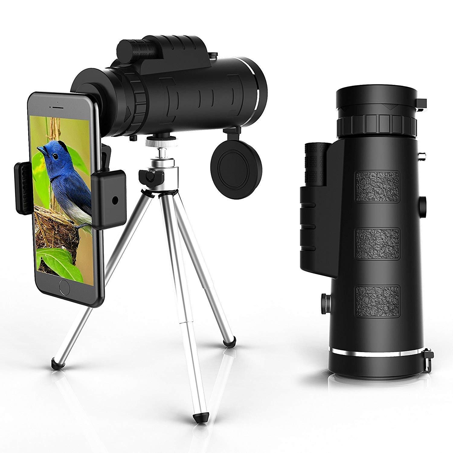 Monocular Telescope 12X50 High Power Spotting Scopes - Low Night Vision Phone Clip Tripod Cell Phone
