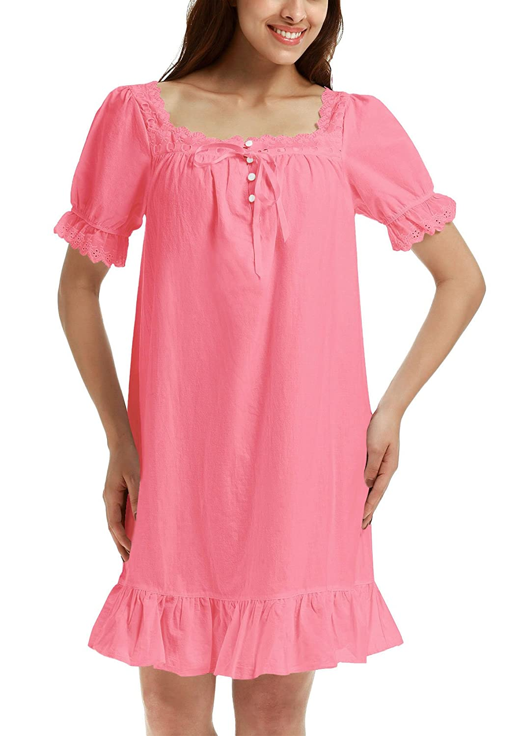 1960s – 1970s Lingerie & Nightgowns Adorneve Womens Cotton Sleepwear Soft Nightdress Victorian Vintage Nightgown $9.99 AT vintagedancer.com