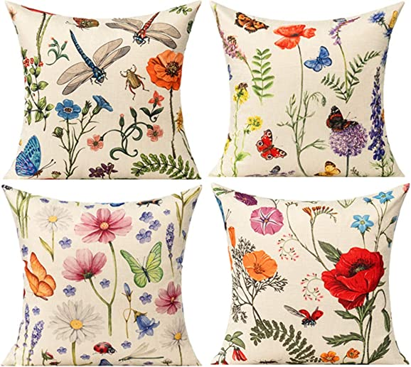 """All Smiles Spring Outdoor Patio Throw Pillow Covers Garden Flowers Farmhouse Outside Furniture Bench Decorative Cushion 18"""" X 18"""" Set of 4"""
