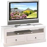 Links 20901530 Provence 3 Meuble TV 2 tiroirs Blanc 118 x 39 x 45 cm