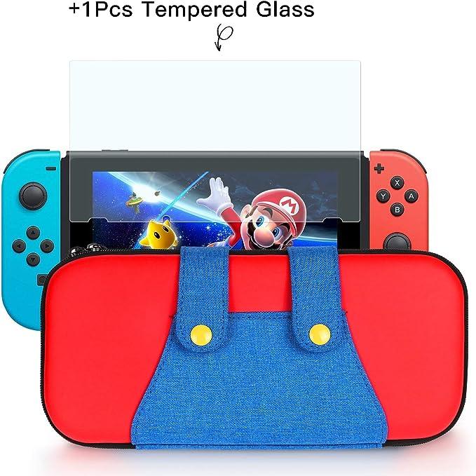 Funda para Nintendo Switch, Nintendo Switch Case para tarjetas de juegos Case 10 Estuche diseñado y grandes para accesorios - Azul / Rojo: Amazon.es: Videojuegos