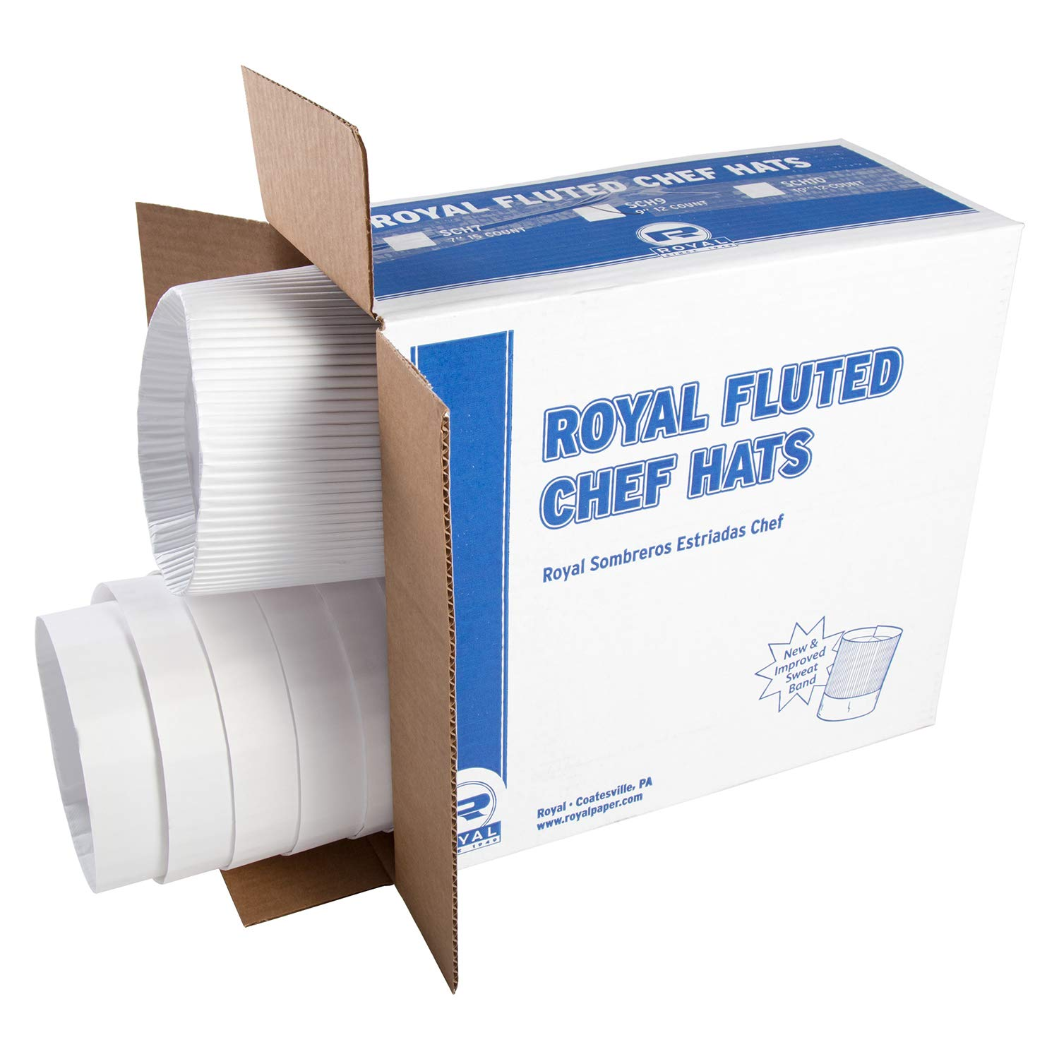 Royal SCH9 Stirling Fluted Chef's Hats, Paper, White, Adjustable, 9 in. Tall (Case of 12)