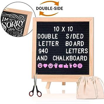 Tabla de letras de fieltro intercambiable con pizarra de 25,4 x 25,4
