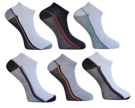 Mens 6 Pairs Sport Trainer Liners Ankle Socks