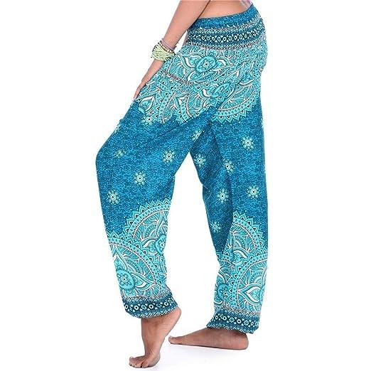 c30b407dc2a33 PASHY Women's Loose Pants Harem Pants Bohemian Casual Gypsy Print Yoga  Baggy Boho Sweatpants Trousers Blue