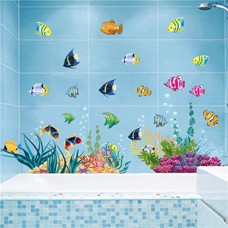 Sea Life Wall Stickers Under The Sea Fish Wall Decor, DILIBRA Sea World Removable Peel and Stick Waterproof DIY Art Wall Decals for Kids Room Nursery Living Room Bathroom Playroom (Sea Life 2)