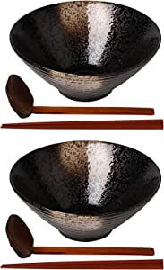 Kanwone Ceramic Japanese Ramen Bowl Set, Soup Bowls - 60 Ounce, with Matching Spoons and Chopsticks for Udon Soba Pho Asian Noodles, Set of 2, Black