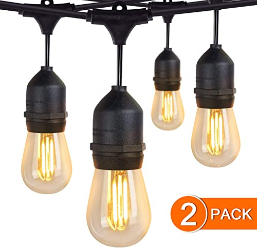 JMEXSUSS 2 Pack 48Ft LED Waterproof Outdoor String Lights with 15 Hanging Sockets Included 16pcs 1 Spare 1W 2700K Vintage S14 Bulbs for Patio Deck Backyard Cafe Garden Decor