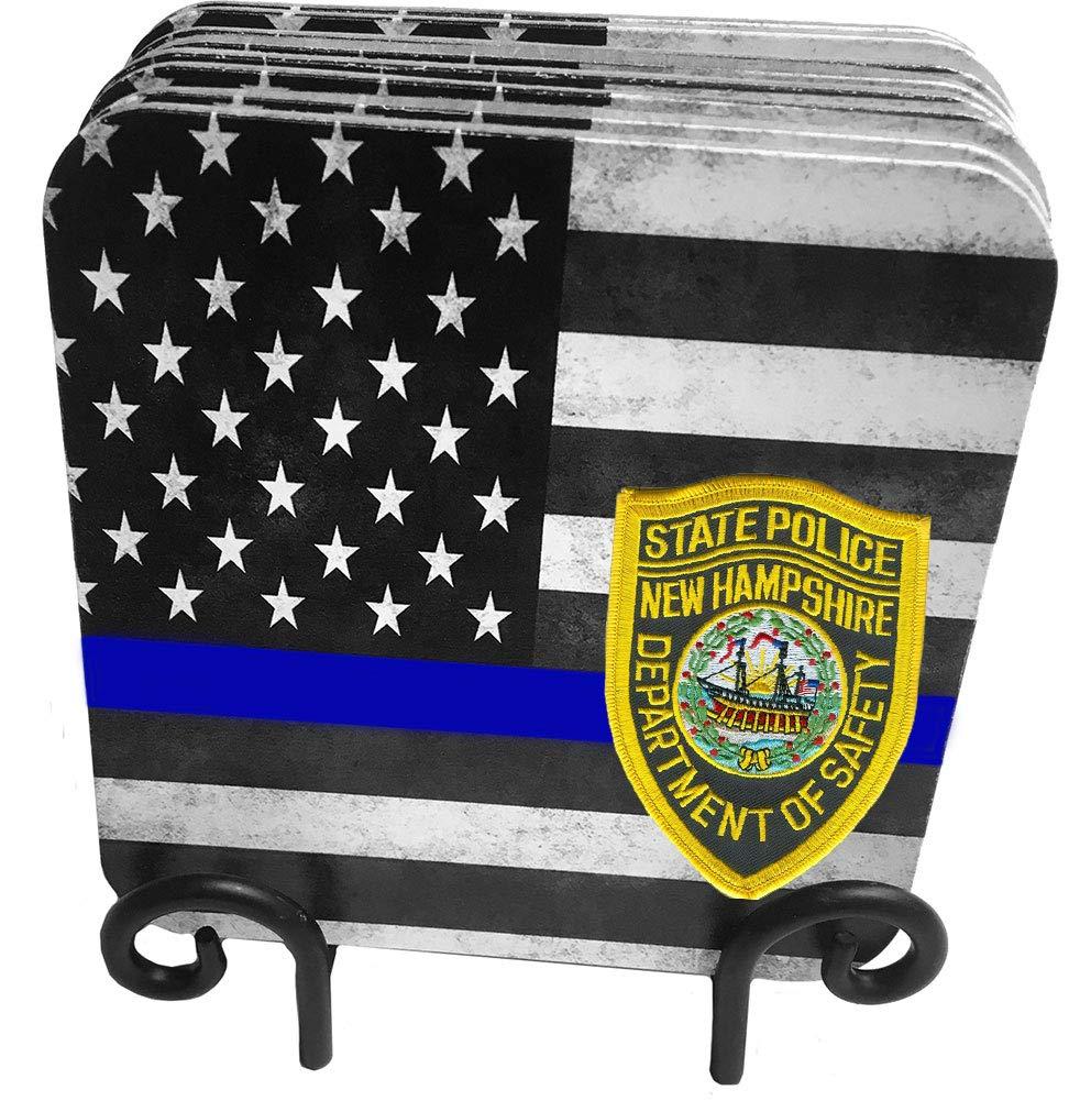 50 States Highway Patrol , State Patrol , State Police 9 pcハードボードコースターwithメタルスタンド  New Hampshire B01N4LJKE7