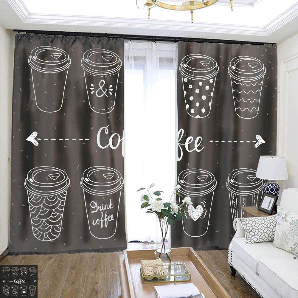 Custom Curtain Coffee Paper Cups Coffee to go Hand Drawn Vector Set W96 x L120 Christmas Curtain Set Highprecision Curtains for bedrooms Living Rooms Kitchens etc.