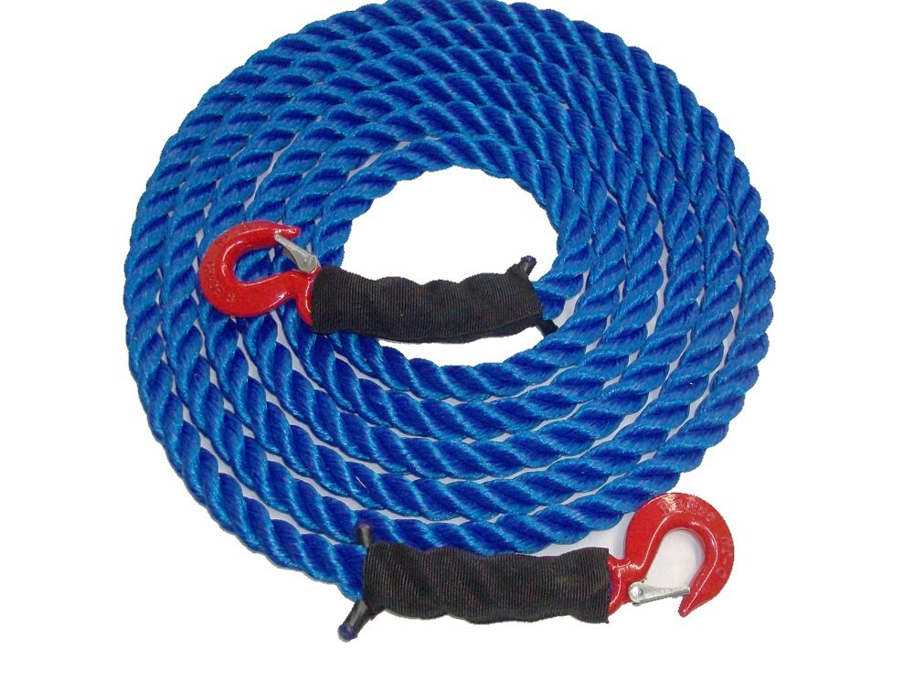 Tow Rope Heavy Duty Polypropylene with Hooks, 12,500 LBS Breaking Strength for Mid Size Pickups and Cars, Made in the USA (40 Feet) by TRIPLE S ROPE
