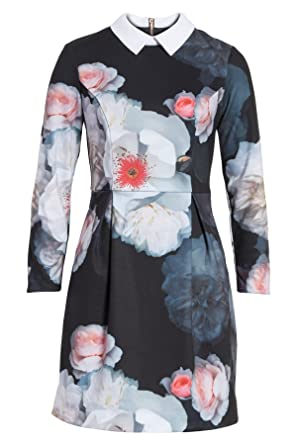 8a4ade3abfc1 Ted Baker KALEESA Chelsea Flower Collared Long Sleeves Dress In Black (1)
