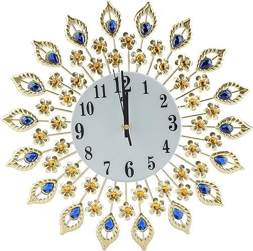Fdit Wall Clock Creative Iron European Style Modern Flower-Shaped Wall-Mounted Clock Diamond Hanging Wall Clock Home Office School