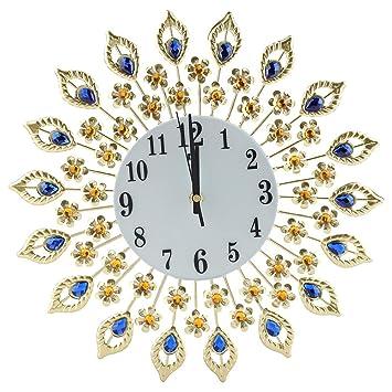 Cristal Reloj de pared de metal, diseño moderno reloj de cocina con brillantes para oficina Salón decoración de pared: Amazon.es: Hogar