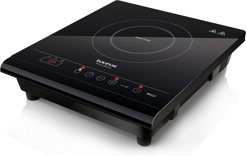 Taurus PI410 Placa de inducción portátil, 2000 W, Cristal, Negro: Amazon.es: Hogar